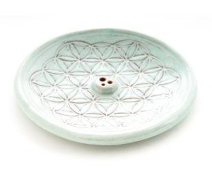 Räucherhalter aus Keramik - Blume des Lebens Türkis