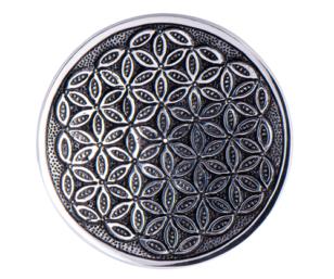 Relief Weissmetallhalter - Blume des Lebens