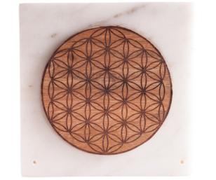 Marmorhalter Quadrat mit Blume des Lebens